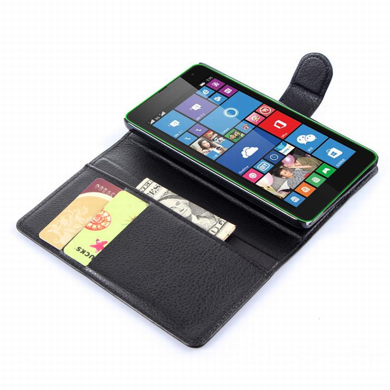 meet fae65 284b5 US $4.25 |For Microsoft Lumia 535 case cover ,fashion luxury filp Lychee  leather wallet stand phone case cover cell-in Wallet Cases from Cellphones  & ...