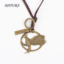 Women's Unisex Circle  Eagle Charm Pendant Brown Genuine Leather Necklace .