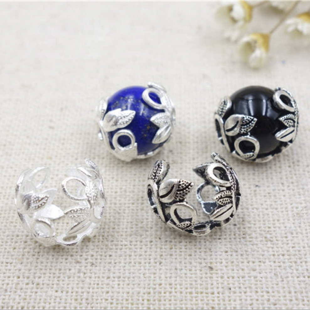 5Pcs 925 Sterling Silver Flower Bead Cap Spacer End Tail Jewelry Findings
