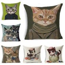 YVEVON Art Linen Pillow Cover Cat Couch Cushion Covers  Kitten PillowCase Home Cute Animal Decoration Sofa Pillowcase 45x45cm cat print pillowcase cover