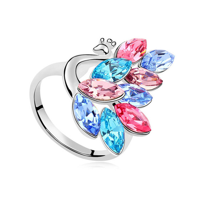 New Exclusive Peacock Rings Crystal from Swarovski Fashion Gorgeous Women Party Jewelry Vintage Elements Ring for Lady Jewellery