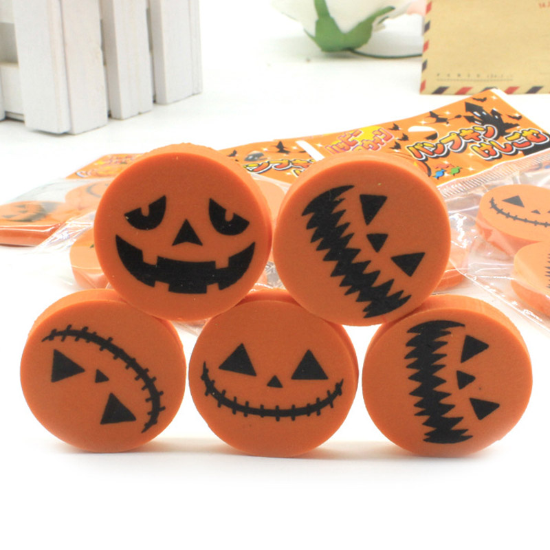 3PCS Creative Halloween Rubber Pumpkin Eraser A Bag Of 3 Packs Student Stationery Gift Child Reward Office&School Supplies