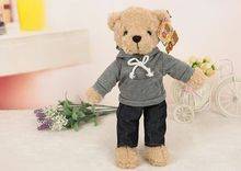 about 30cm teddy bear plush toy gray T-shirt dress bear doll,high quality goods, baby toy birthday gift,Xmas gift c767