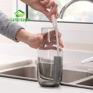 Image 2 - JiangChaoBo силиконовая щетка для чистки стекла с длинной ручкой, щетка для чашки, бытовой чай, кухонная щетка для мытья, губка