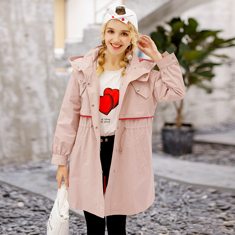 Spring Trench Coat Women Fashion Large Size Loose Hooded Win