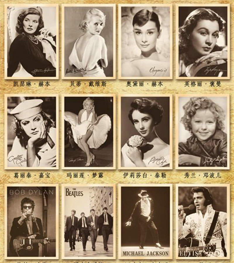32sheets/lot mix 32 designs Vintage Movie Stars Rock Stars Postcards / Post Card / Greeting Cards