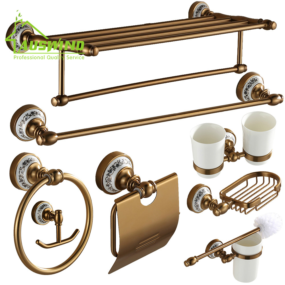 Antique Space aluminum Bath Hardware Sets Ceramic Brushed ...