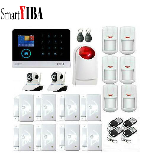 SmartYIBA Home RFID Burglar Security LCD Touch Keyboard WIFI GSM Alarm System Wireless Strobe Siren WIFI IP Camera APP Control цена