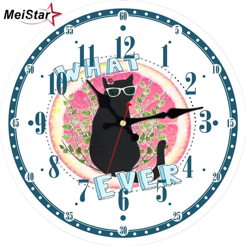 MEISTAR Cute Cat Modern Silent Wall Clocks In Home & Garden Living Room Kitchen Decoration Watches Large Art Wall Clocks
