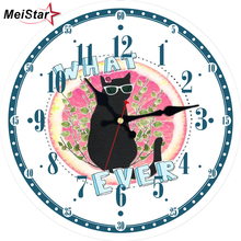 MEISTAR Cute Cat Modern Silent Wall Clocks In Home & Garden Living Room Kitchen Decoration Watches Large Art