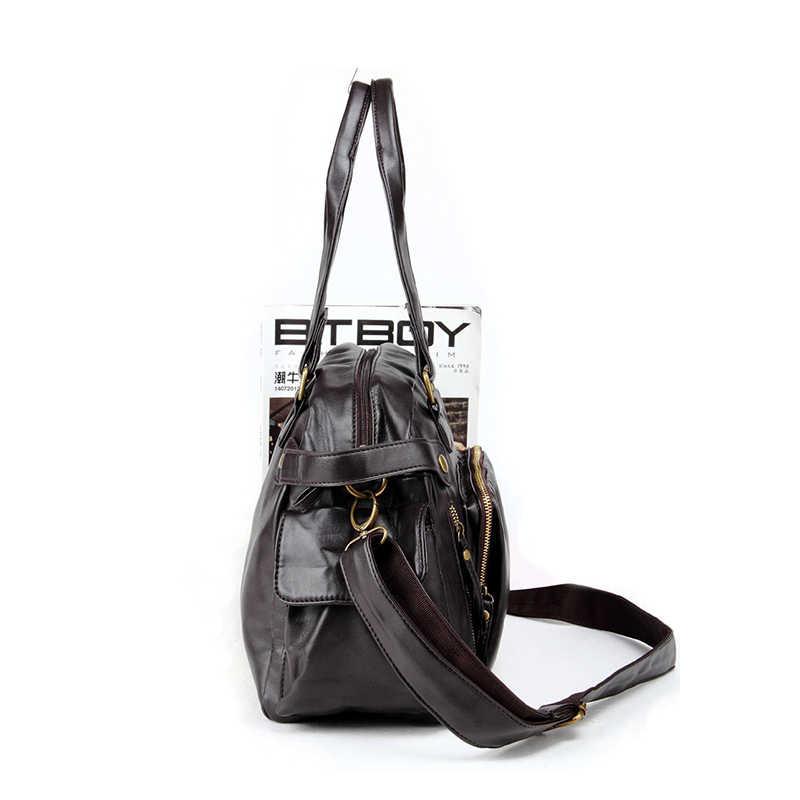 P.KUONE 2018 Special Offer Men Shoulder Bag Famous Brand Soft PU Leather Handbag Big Capacity Designer Travel Bag Male Crossbody