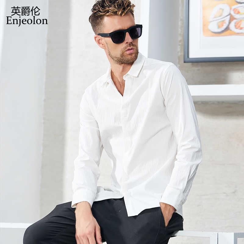 Enjeolon marca camisa masculina hombres camisas sólidas Blusa de algodón de manga larga camisa casual Base hombres 3XL ropa CX2367