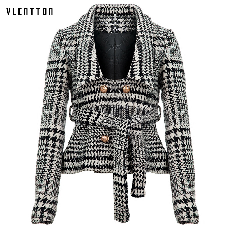 Women plaid notched collar tweed blazer double breasted pockets tassel hem female loose casual outwear chic