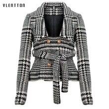 Blazer de tweed con cuello entallado a cuadros y bolsillos con doble botonadura, dobladillo de borla para mujer, prendas de vestir informales y holgadas, tops elegantes