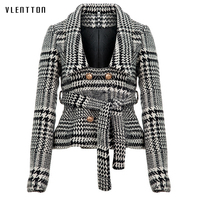 Women plaid notched collar tweed blazer double breasted pockets tassel hem female loose casual outwear chic tops