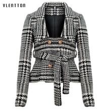 ผู้หญิงลาย notched collar tweed blazer คู่กระเป๋าพู่ hem หญิงหลวมสบายๆ outwear chic เสื้อ