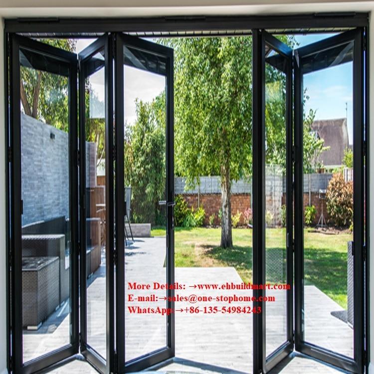Porte pliante lourde en Aluminium insonorisée pour le projet de bâtiment d'hôtel de maison de Villa, porte en Aluminium de Double vitrage de preuve d'ouragan