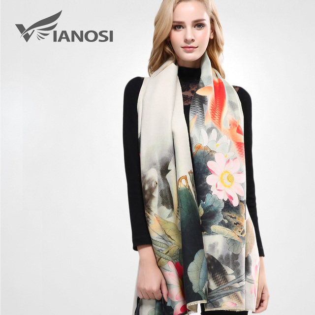 [VIANOSI] 2016 Luxury Scarf Women Wool Cashmere Shawls and Scarves Thicken Warm Wrap Digital Printing Winter Scarf Woman VA060