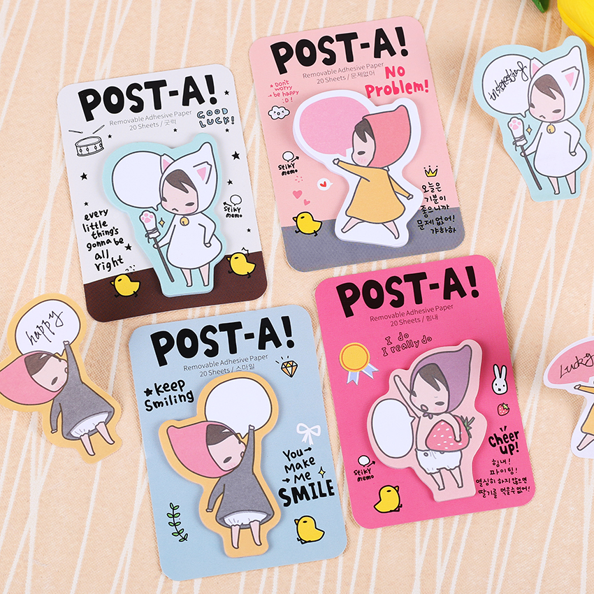 1PC Cute Girl Sticky Notes Removable Adhesive Paper Memo Pad Post Office Accessories School Supplies