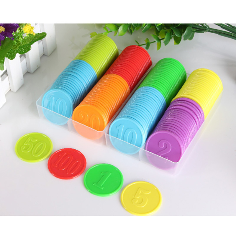 160PCS/SET,Good Quality PP Plastic 38mm Poker Chips ,Education Plastic Chips Send To Children As Gift With Free Ship
