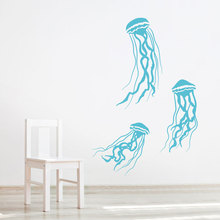 Set Of 3 Jellyfish Wall Vinyl Sticker Under Sea Animal Decal For Bathroom Cute Marine Living Creature Waterproof Y26