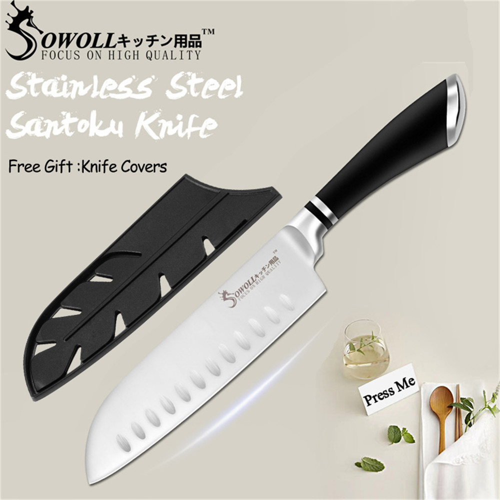 SOWOLL Knife-Tools Japanese Stainless-Steel Handmade Cooking Kitchen Santoku 7inch Salmon