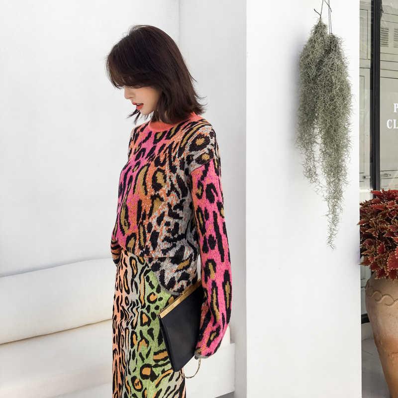 Цвета леопарда вязаный свитер женский 2018 осень зима мода o-образным вырезом Свободный пуловер свитер женский розовый леопардовые свитеры Топы