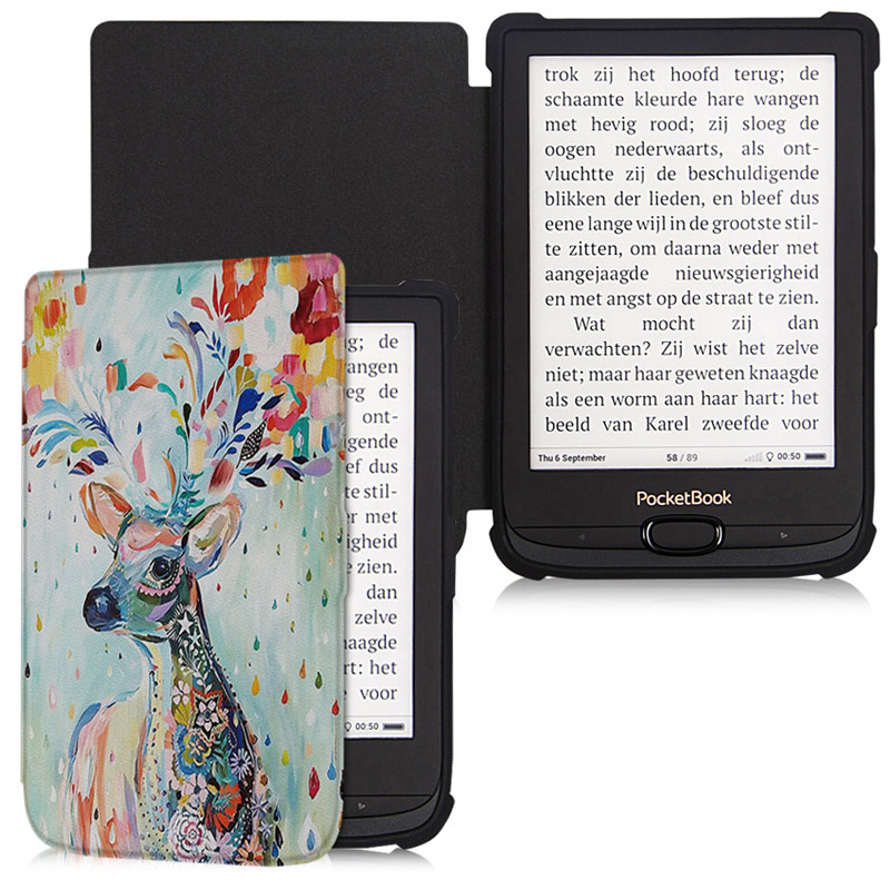 Bozhuorui Magnetic Cowl Case Matches Pocketbook 616/627/632 Ereader With Auto Wake/sleep For Contact Lux4/primary Lux2 Tpu Mushy Cowl
