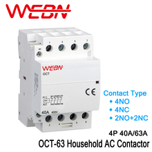 OCT-63 Series 4P 40A/63A Automatic Operation AC Household Contactor 220V/230V 50/60Hz Contact 4NO/2NO+2NC/4NC Din Rail Contactor 35mm din rail mounted 3p 4no 4nc 380vac coil contactor type relay jzc1 44