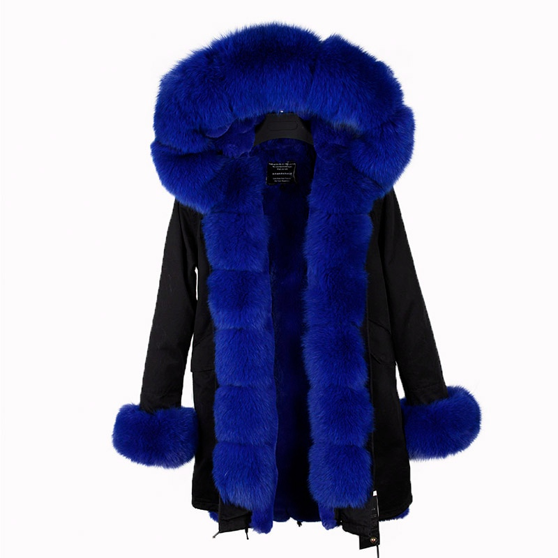 2017 new fashion women luxurious Large fox fur collar hooded coat warm rex real fur liner parkas long winter jacket top quality maomaokong real fox fur 2017 new fashion winter coat long hood rex rabbit hairpin to overcome jacket girl