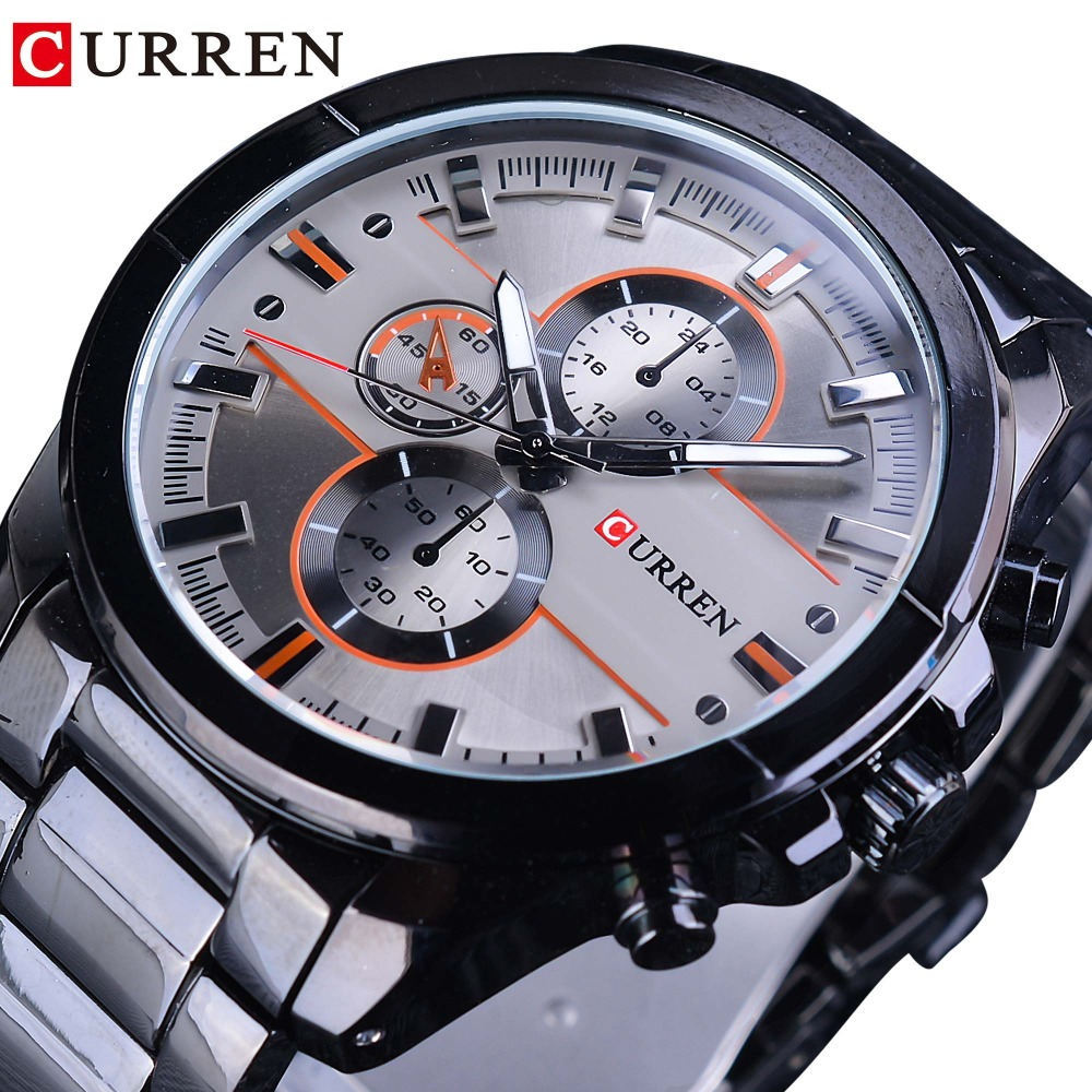 <font><b>CURREN</b></font> 2018 Fashion Black Stainless Steel Creative Mens Sport Quartz Watches Top Brand Luxury Male Clock Military Casual Design image