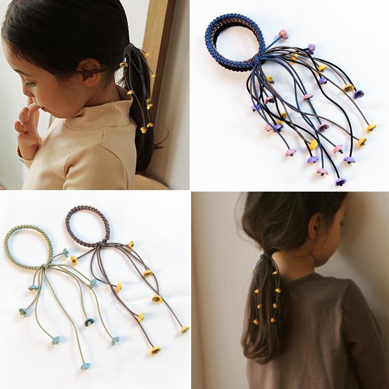 4 Pcs Korea 2019 Handmade Hair Ropes Girl Rubber Band Cute Tie Three Strands Elastic Women Girls Accessories