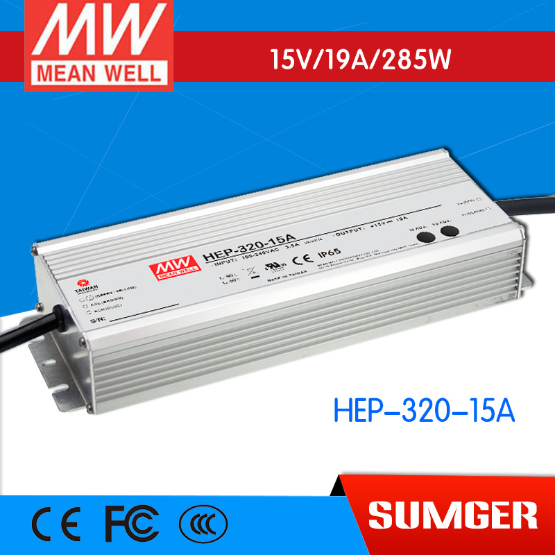 1MEAN WELL original HEP-320-15A 15V 19A meanwell HEP-320 15V 285W Single Output Switching Power Supply [freeshipping 1pcs] mean well original rs 25 15 15v 1 7a meanwell rs 25 25 5w single output switching power supply