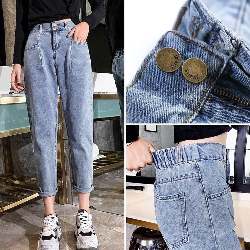 elastic high waist jeans woman boyfriend plus size korean vintage oversized loose long trousers fashion blue pant women 2019