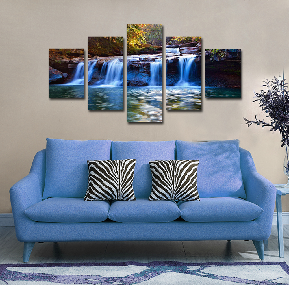 Unframed 5 panel HD Canvas Wall Art Giclee Painting Creek waterfall Landscape For Living Room Home Decor Unframed