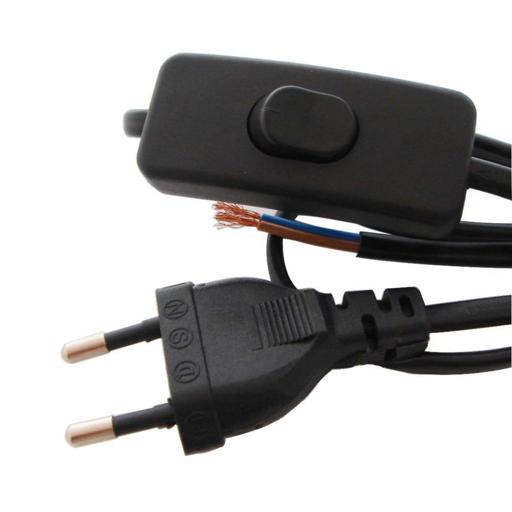 2*0.75mm2 Europa Stecker Lampe Netzkabel AC 220 V VDE Lichtschalter ...