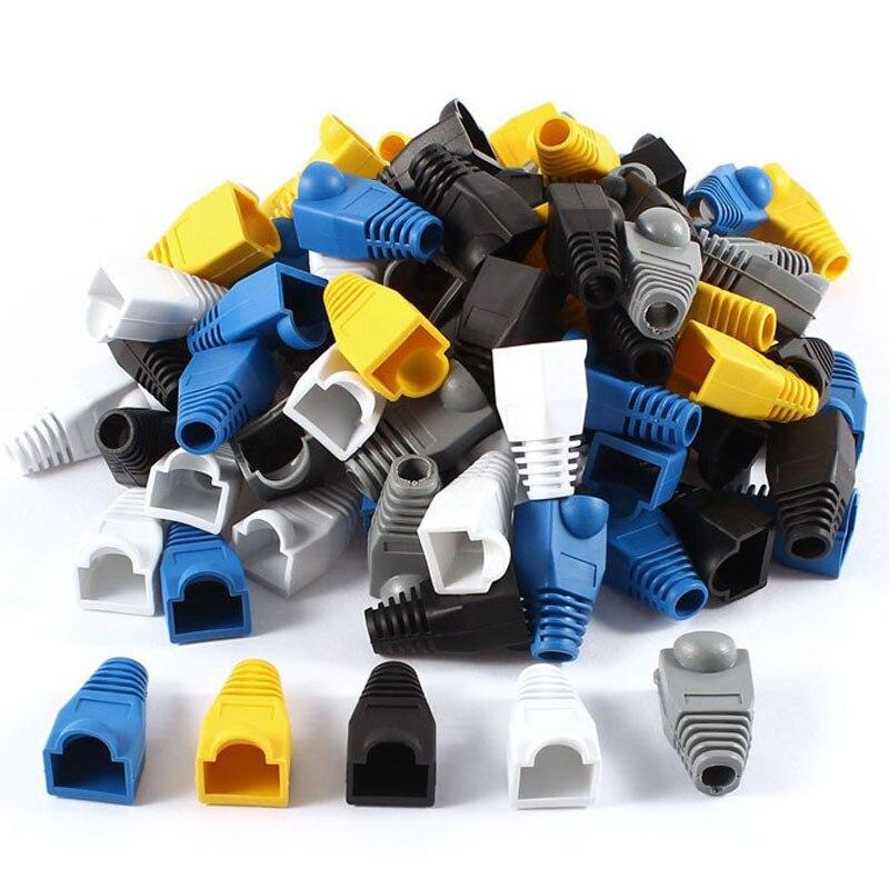 100 Pcs Soft Plastic Ethernet Rj45 Cable Connector Boots Plug Cover Random Color