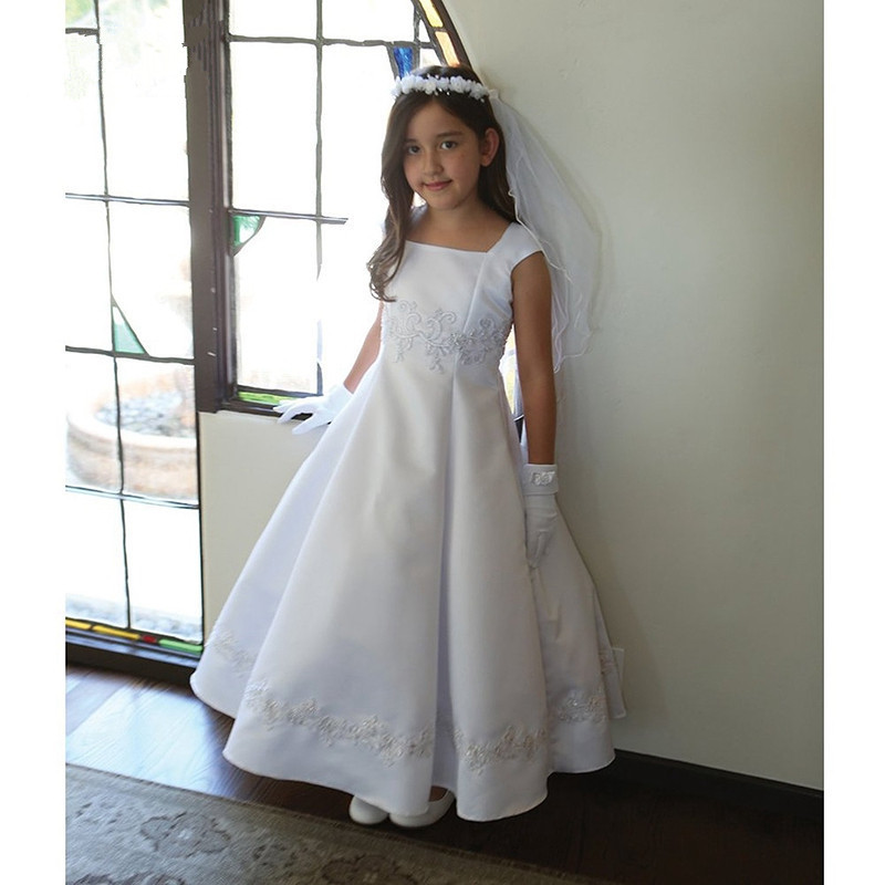 New White Flower Girls Dresses Ball Gown Satin Beaded Lace Square Neck Ankle Length 2017 Girls Pageant Gown vintage flower girl dresses for wedding jewel neck ankle length girls pageant gown with lace beaded sash backless communion gown