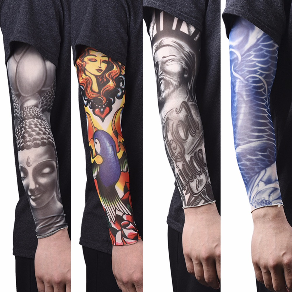 Men's Accessories Fashion Men Women Arm Sleeves Elastic Nylon Halloween Dance Party Tattoo Sleeve Fashion Tattoo Arm Leg Sleeves Anti Men's Arm Warmers