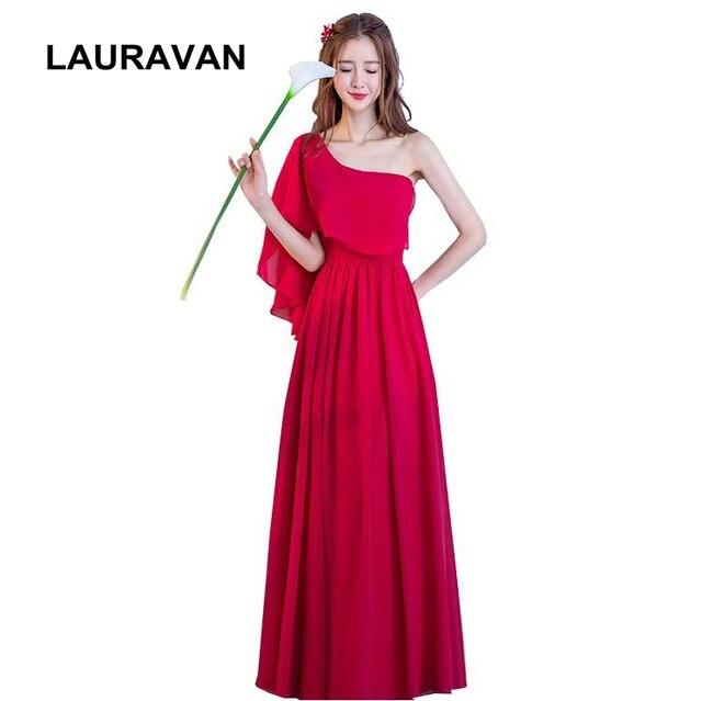 5cd4b41910a7 long brides maid greek goddess summer dress 2019 country western one  shoulder chiffon wine red burgandy bridesmaid dresses
