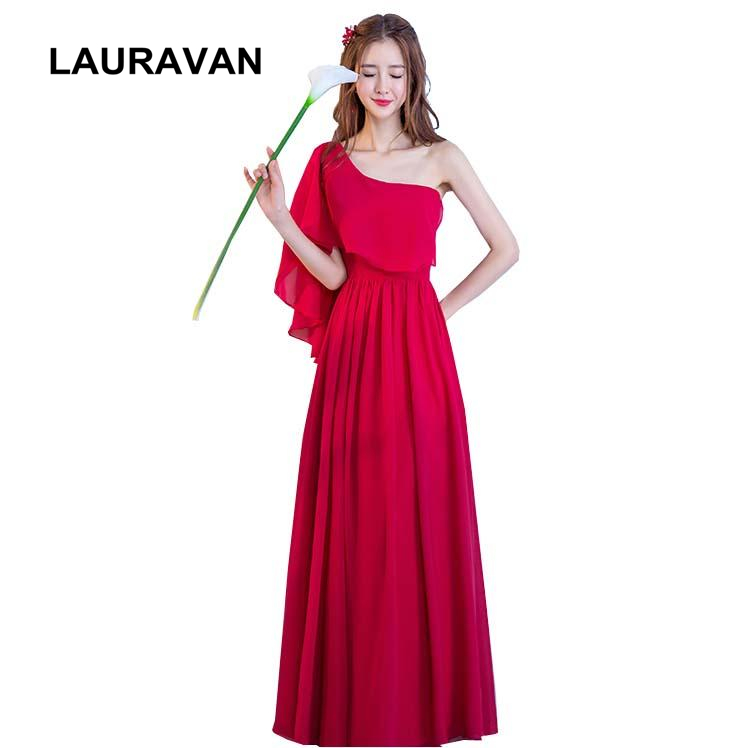 long brides maid greek goddess summer   dress   2019 country western one shoulder chiffon wine red burgandy   bridesmaid     dresses