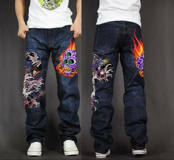 Men's Long Pants Baggy Loose Fit Jeans Rap Hip Hop Skate Denim Print Trousers Straight Stretch Casual Trousers Skull