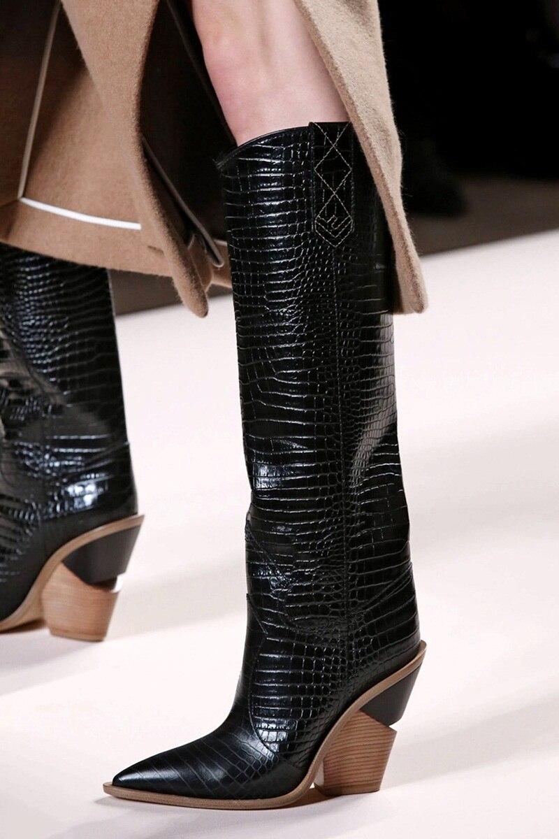 VANKARING العلامة التجارية تصميم سميكة عالية الكعب جلد كاوبوي حذاء بكعب عال للنساء الخريف الشتاء الأحذية وأشار اصبع القدم مدارج امرأة الثلوج-في بوت للركبة من أحذية على  مجموعة 3