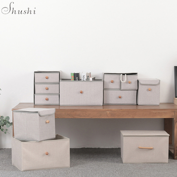 Shushi Fashionable Linen Jewelry Cabinet Drawer Home Foldable Sundries Organizer Box Collapsible Bra Dirty Cloth Storage Case