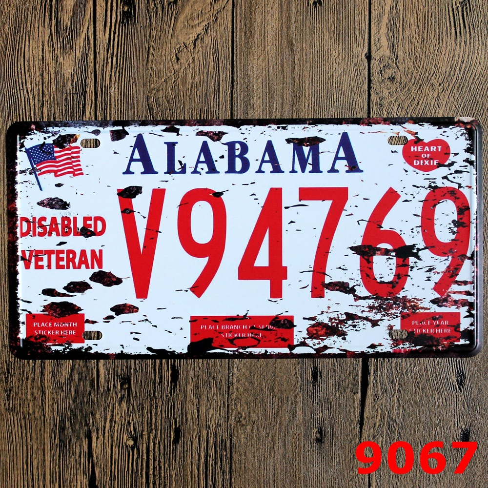 Hot Car License Plates number  Alabama V94769  Retro Vintage Metal tin signs Wall art craft painting 15x30cm RM1939