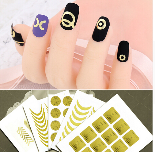 3Pcs Glod,Silver,Black Nails Sticker Tips Guide French Manicure Nail Art Decals Form Fringe Nails DIY Decorations Tools Z15