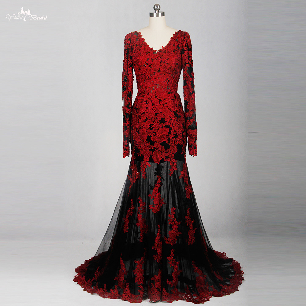 Rse776 red black see through back low long sleeve v neck for Red and black wedding dresses