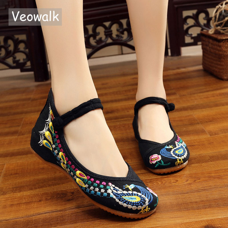 Veowalk Handmade Fashion Women Flat Shoes Old Beijing Ballet Flats Casual Shoes Chinese Vintage Embroidered Cloth Shoes Woman vintage pumps spring autumn old beijing embroidery cloth shoes fairy girl embroidered national han chinese women s shoes