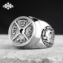 Dumbbell Spliced Stainless Steel Ring /Fitness Barbell For Men's Jewelry