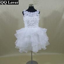 QQ Lover 2017 New Flowers Knee-Length Ball Gown Wedding Dress Custom-made Vestido De Noiva Bridal Gowns